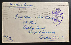 1944 Belgium Antwerp Base Army Post Office Bapo 8 Oas Cover To London England