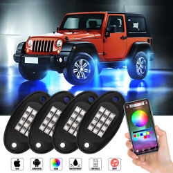 4 Pods Rgb Led Rock Lights With Bluetooth Controller For Cars