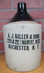 Aj Miller And Sons Main St W Rochester Ny Antique Stoneware Advertising Liquor Jug