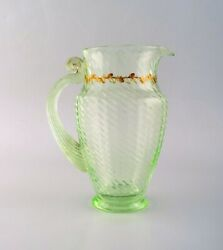 Emile Gallé 1846-1904. Early And Rare Jug In Mouth-blown Light Green Art Glass