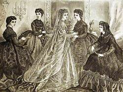 Victorian Bridal And Evening Dresses 1869 Antique Fashion Print Matted