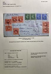 1949 Leeds England Airmail Postage Due Cover To Plattsburgh Ny Usa
