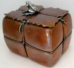 GORHAM AESTHETIC FIGURAL BALE OF TEA COPPER STERLING ROPE FROG TEA CADDY 1883