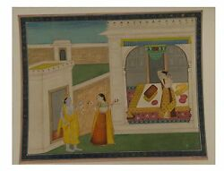 Miniature Paper Painting Art King Queen And Dancing Lady Scene Indian Water Color