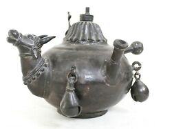 Antique Hand Crafted Solid Brass Oil Lamp Pot Rare Tribal Old Collectible India