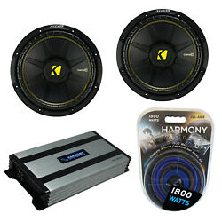 Kicker 2 Cws15 Car Audio Compc Subwoofer 15 Sub 44cwcs154 And Ha-a800.1 Amp
