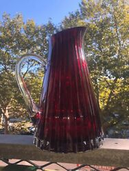 Faberge French Crystal D'orient Big 10 Tall Ruby Cherry Vintage Pitcher