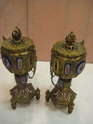 Pair Of German Gilded Bronze Urns With Lid And Porcelain Plaques 14