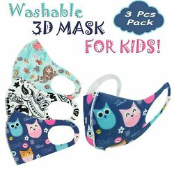 NEW 3-PACK Boys Girls Face Mask Kids Toddler Reusable Washable Cover Breathable  $9.99
