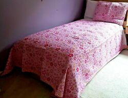 New And Gorgeous Pink Shania Twain Floral 3-piece Full Size Cotton Quilt Set