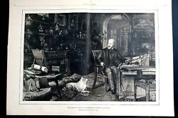 Prince of Wales Portrait 1886 MARLBOROUGH HOUSE in LIBRARY w DOG Print w TEXT