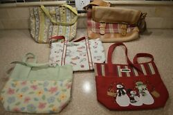 Longaberger Tote Bag Purse Lot Of 5 Red Plaid Floral Stripes Holiday A