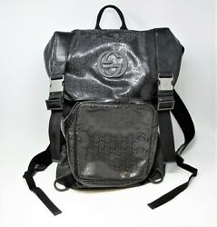 Backpack Black Gg Supreme Interlocking G Coated Canvas Rubber And Silver Xl