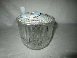 Vintage Small Clear Glass Egg Beater Jar W/metal Lid