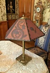 Vintage Antique Pairpoint Reverse Painted Floral Decorated Art Deco Table Lamp