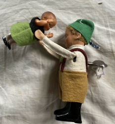 Antique Schuco Wind Up Toy - Dancing Children Made In Germany 5 Tin/celluloid