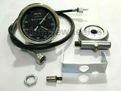 Smiths Replica 80 Mph Speedo Black + Drive And 40 Inches Cable For Classic Bikes
