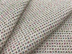 Clarence House Textured Colorful Upholstery Fabric- Pierrot / Oatmeal 4.65 Yds
