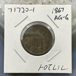 1867 Us Two 2 Cent Piece Circulation Strike Ag-g Collectible Coin 71720-1