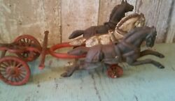 Antique Toy Cast Iron Three Metal Horses And Carriage Base For Parts/repair