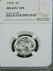 1938 P Jefferson Nickel Ngc Ms67+ 5fs Full Steps Magnificent Pq Coin 910