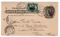 294 Pan American First Day Of Issue 1901 On Ux14 To Paris France W/ Pf Cert