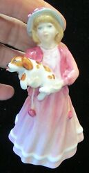 1993 Royal Doulton My First Figurine Girl Hold King Charles Spaniel 4.5 Retired