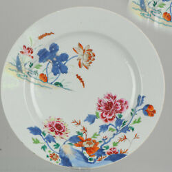 32cm Large Antique 18c Polychrome Charger Imari Rose Colour Chinese Qian...