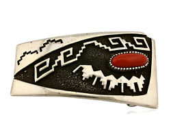 Navajo Belt Buckle .925 Silver Real Coral Signed Tommy Jackson Cuff C.80's