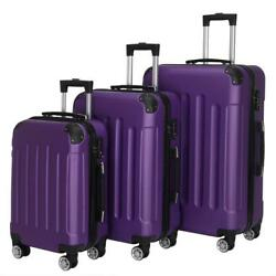 New 3x Travel Spinner Luggage Set Bag Abs Trolley Carry On Suitcase W/tsa Purple