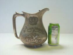 Rare 1920s 30s Gannymede 76 Whiskey Silverplate Pitcher With Ice Catcher