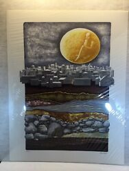 Ann Gross Signed Numbered - Man In The Moon Cityscape Town Never Framed