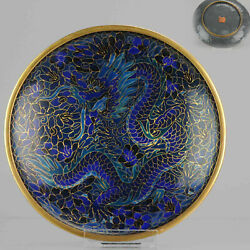 Ca 1900 Perfect Antique Chinese Cloissone Dish Dragon Marked At Base [z...