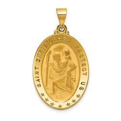18k Yellow Gold Solid Saint Christopher Protect Us Oval Medal Charm Pendant