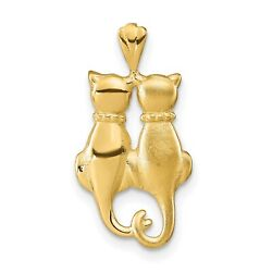 14k Yellow Gold Satin And Polished Twin Rear Profile Cats Charm Pendant