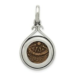 Sterling Silver Bronze Antiqued Widows Mite Coin Charm Pendant 25 Mm X 18 Mm