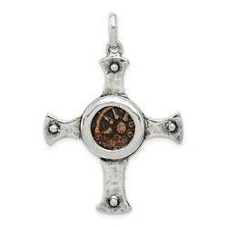 Sterling Silver Bronze Antiqued Widows Mite Coin Cross Charm Pendant