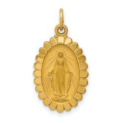 14k Yellow Gold Mary Mother Of God Miraculous Medal Scalloped Edge Oval Pendant