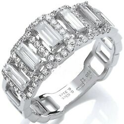 18carat White Gold Diamond Brilliant And Baguette Cut Cluster Band 1.00 Cts G/vs