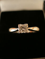 18ct White Gold Princess Cut Diamond Single Stone Ring Made In England Brand New