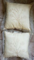 2 Buttercup Yellow Pillows Sheer Cover Embroidered Flowers JCPenney 15quot; x 15quot; FS