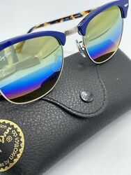 NEW Ray Ban Clubmaster Sunglasses Blue Tortoise Gold Rainbow Flash Mirror Lens $99.00