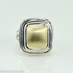 Slane And Slane 18k Yellow Gold And Sterling Silver Column Link Heavy Ring Size 6.5