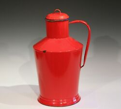 Antique French Enamel Large Country Kitchen Jug Pitcher Thermos Red Cooler 16