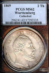 German States Wurttemberg 1869 2 Thaler Coin Pcgs Ms 62 F.stg Thaler Cathedral