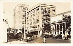 FL 1920's RARE! REAL PHOTO City Hall and Bus at Busy St Petersburg FLA