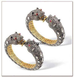 Natural Rose Cut Diamond Polki Solid 925 Sterling Silver 2 Pcs Bangle Jewelry