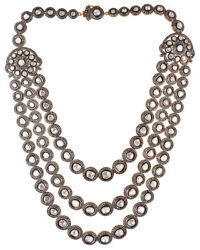 Natural Rose Cut Diamond Polki Solid 925 Sterling Silver Necklace Jewelry