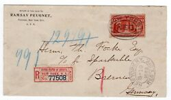 241 Columbian 1 Registered W/ Ny Label To Bremen Germany 1893
