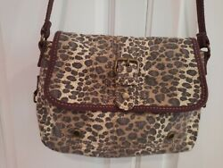 Fossil Canvas Purse Crossbody Brown Black Leopard Animal Crossbody 10 x 7 x 3 $18.99
